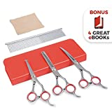 AEXYA Premium dog grooming scissors kit 3SB Pet grooming tool set Stainless steel straight - thinning and curved sharp shears for small or large dogs - cats or other pets