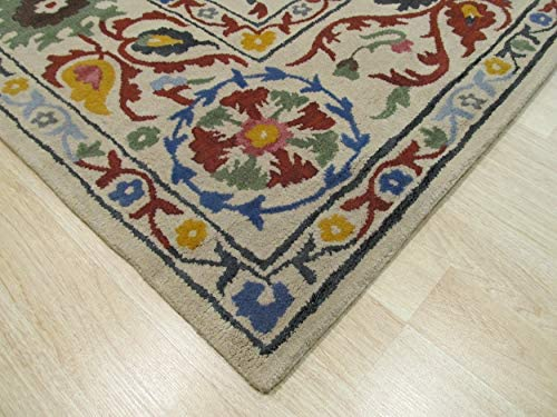 EORC Hand Tufted Wool Suzani Rug, 7 9 by 9 9, Ivory