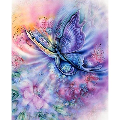 (Adarl DIY 5D Diamond Painting Round Resin Beads Crystals Purple Butterfly Pictures Diamond Dotz Kits Cross Stitch for Home Decor)