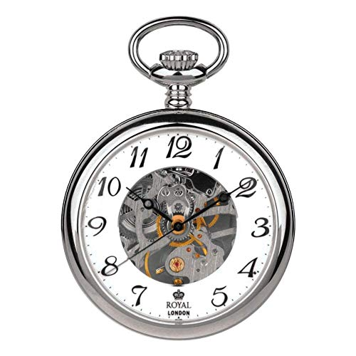 (Royal London Pvd Plated Open Face Mechanical Pocket Watch)
