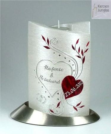 Amazon.de: Hochzeitskerze mit Teelichteinsatz Oval 19/13 cm, Silber ...