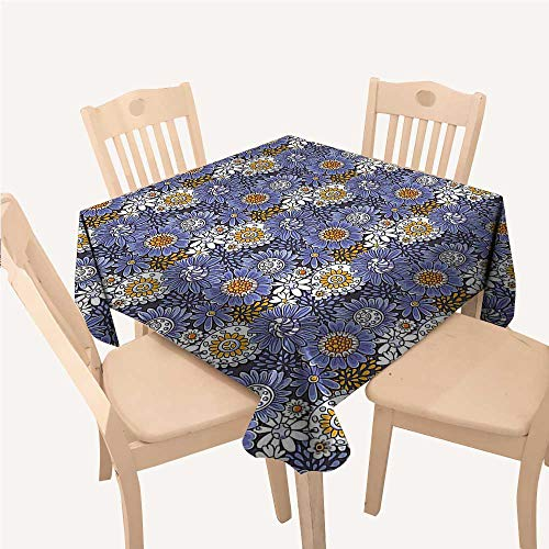 WilliamsDecor Floral Printed Tablecloth Hand Drawn Flowers Daisies Doodle Spirals Dots Artistic Natural RetroViolet Blue Orange White Square Tablecloth W70 xL70 inch
