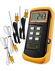 Digital 2 kanaler K-typ termometer med 4 termoelement (tråd och rostfritt stål), -50~1300 °C (-58~3300 °F) handhållen skrivbord hög temperatur Kelvin skala dubbel mätning mätare sensor