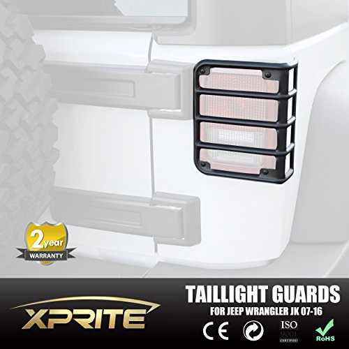 Xprite 2007 - 2017 Jeep Wrangler JK Unlimited Matte Black Light Guard For Rear Taillights ( Tail Light ) Cover - Pair