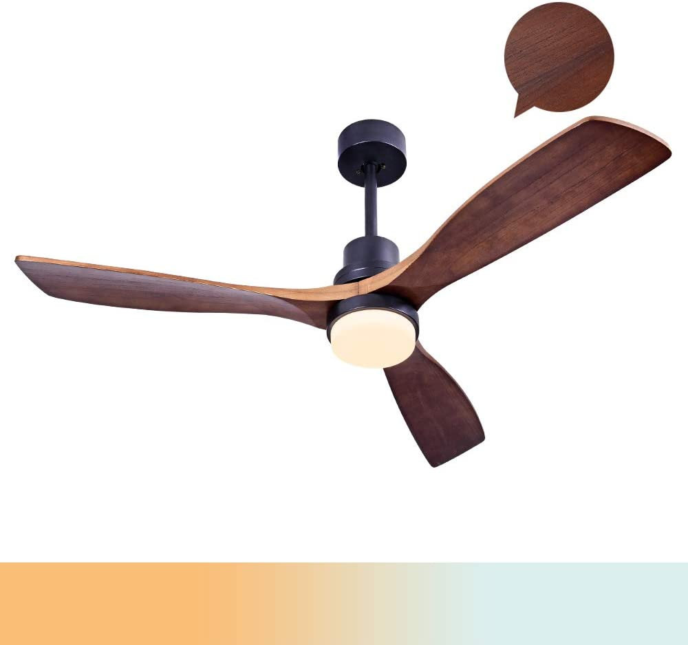 Sofucor Wood Ceiling Fan With Lights,3 Carved Wood Fan Blade Ceiling Fans,Noiseless Motor,Solid Walnut and Matte Black