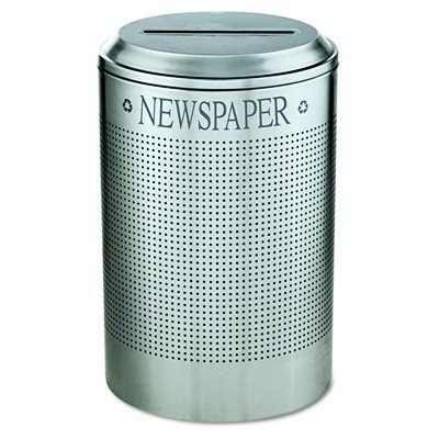 Rubbermaid Commercial FGDRR24PSM Silhouette Recycling System Round Receptacle for Paper, 26-gallon, Silver ()
