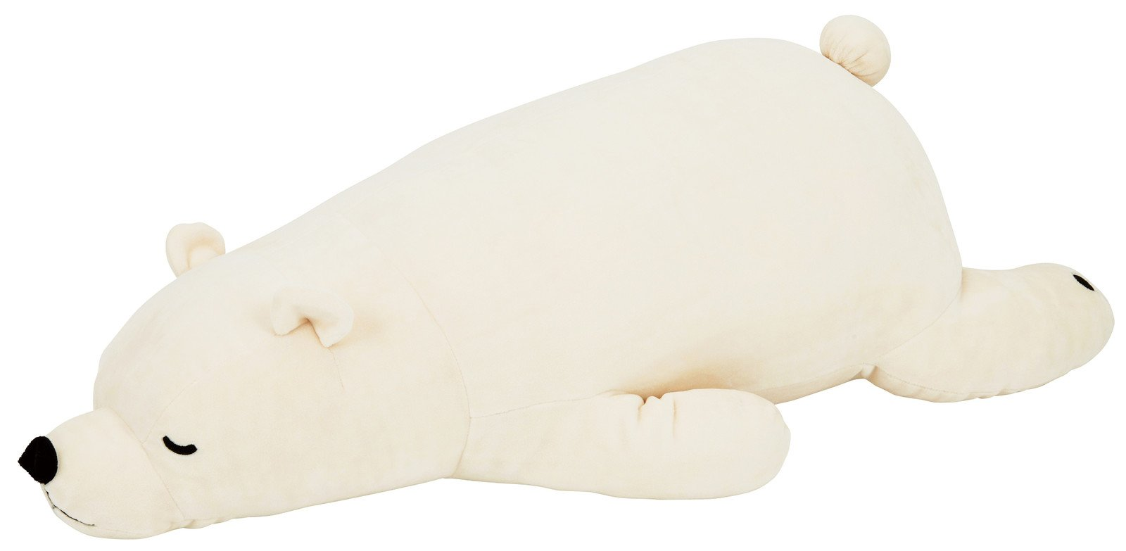 Livheart Premium Nemu Nemu Sleepy head Animals Body Pillow White Plush Polar Bear 'Lucky' size M (21''x9.5''x5.5'') Japan import 28976-11 Huggable Super Soft Stuffed Toy by Livheart (Image #1)