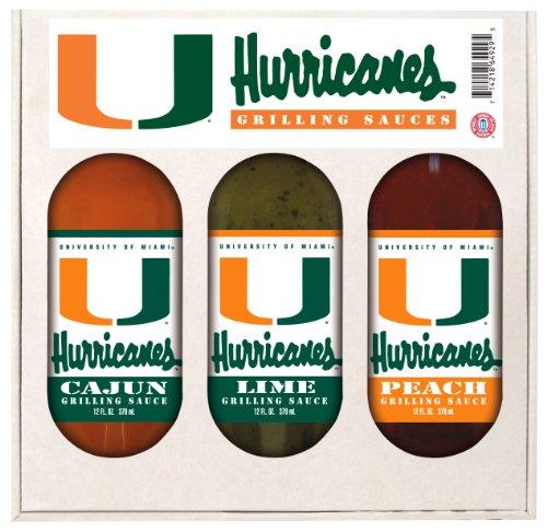 Miami Hurricanes Grilling Gift Set 3-12 oz (Cajun, Lime and Peach)