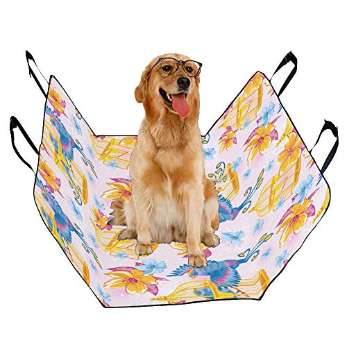 (MOVTBA Fashion Oxford Pet Car Seat Bird Cage Flower Color Hand Drawn Waterproof Nonslip Canine Pet Dog Bed Hammock Convertible for Cars Trucks SUV )
