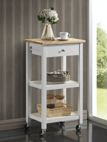 Roundhill Furniture Wood Kitchen Cart on Wheels, White