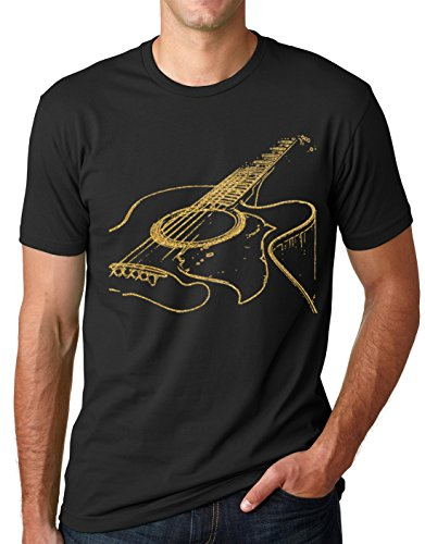 Think Out Loud Apparel Acoustic Guitar Shirt Cool Musician Tee Guitar Shirt Black and Gold M