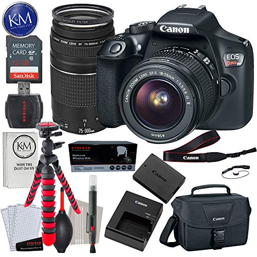 - Canon EOS Rebel T6 DSLR Camera with 18-55mm and 75-300mm Lenses + 32GB + Essential Photo Bundle