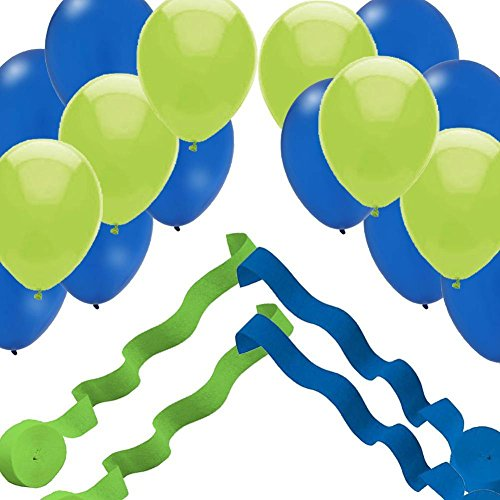 4 Streamer Rolls & 24 Balloons - Blue & Green Party Decorations