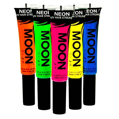 Moon Glow - Blacklight Neon Hair Color Streaks 0.51oz Set of 5 colors - Glows brightly under Blacklights / UV Lighting! (Best Home Hair Dye Uk)