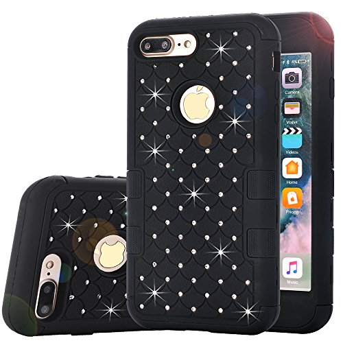 iPhone 8 Plus Case,Auker Dual Layer Armor Shockproof Bling Mermaids Diamond[Soft Silicon+Hard PC] Body Protective Slim Fit Hybrid Combo Case Cover for iPhone 7 Plus 5.5