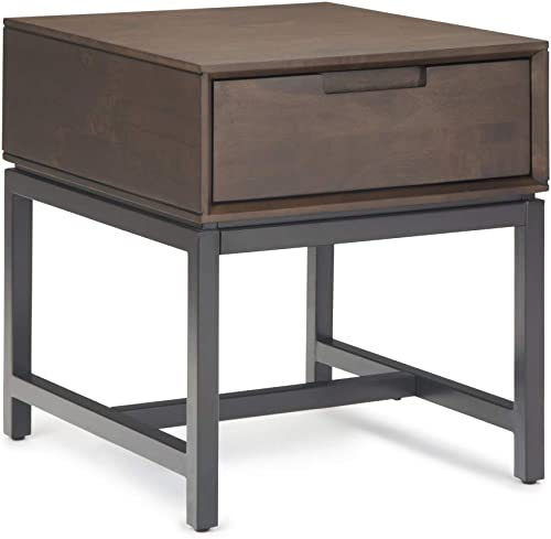 Simpli Home Banting Solid Hardwood and Metal 20 inch wide Rectangle Modern Industrial End Side Table