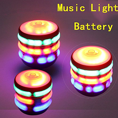 Arsmt Yo-yos LED Light Up with Music Launcher Spinning Top Rainbow Colors Change Glow in the Dark Toy Pack 3 by Arsmt
