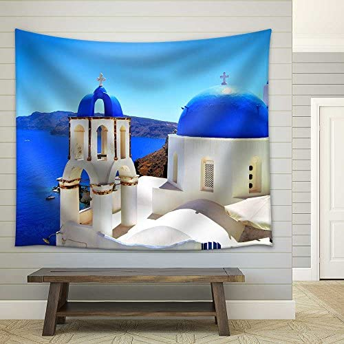 Beautiful Blue Dome Churches of Santorini Greece Fabric Wall