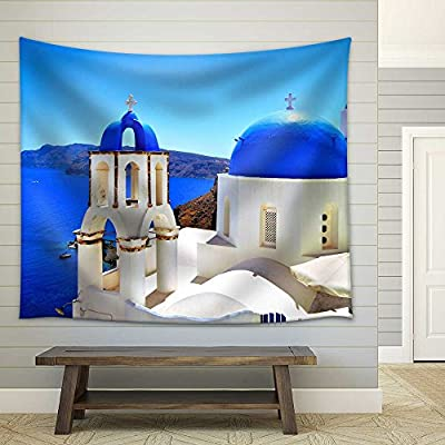 Majestic Expertise, Beautiful Blue Dome Churches of Santorini Greece Fabric Wall, Made With Top Quality