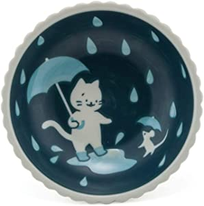 Japanese Blue Cat with Umbrella and Mouse Design Bowl, 6 1/4 Inch