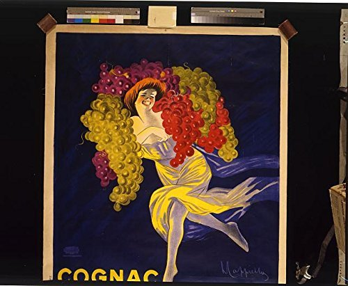 Historic Photos 1907 Photo Cognac Gautier Frères France/L. Cappiello. Poster Showing a Woman Carrying Enormous Bunches of Grapes on her Shoulders. Location: France