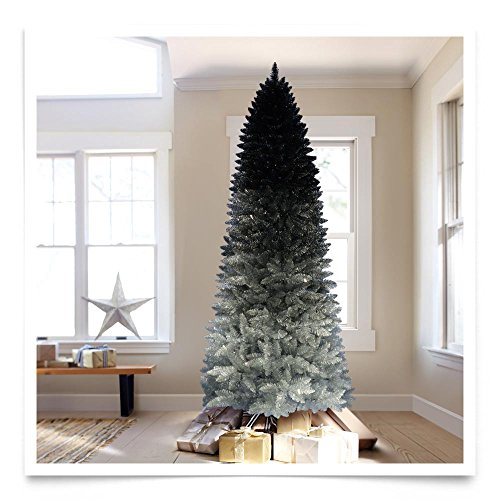 Treetopia Silver Shadow Ombre Artificial Christmas Tree, ...