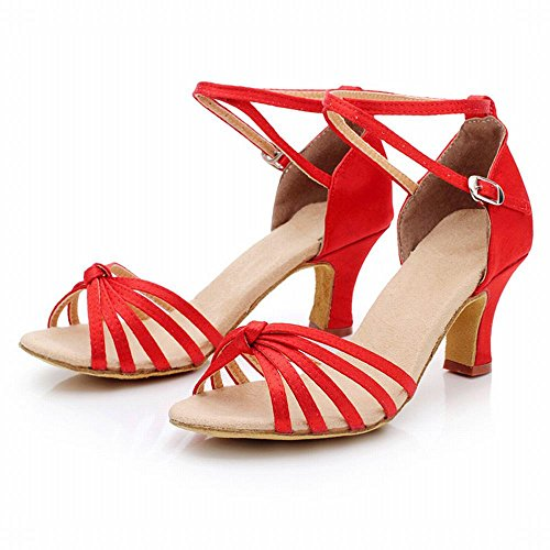 Ballo da Morbido Nodo Jazz con di Ballo Donna Caviglia da Rosso Fondo Amicizia Latino Cuoio alla BYLE Onecolor Moderno Scarpe Cinturino Scarpe da Ballo Sandali Scarpe Samba Adulto qTzAaR