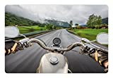 Man Cave Pet Mats for Food and Water by Lunarable - Biker Rides Motorcycle on the Highway Lifestyle Speed Adventure Foggy Rural Area - Rectangle Non-Slip Rubber Mat for Dogs and Cats - Multicolor