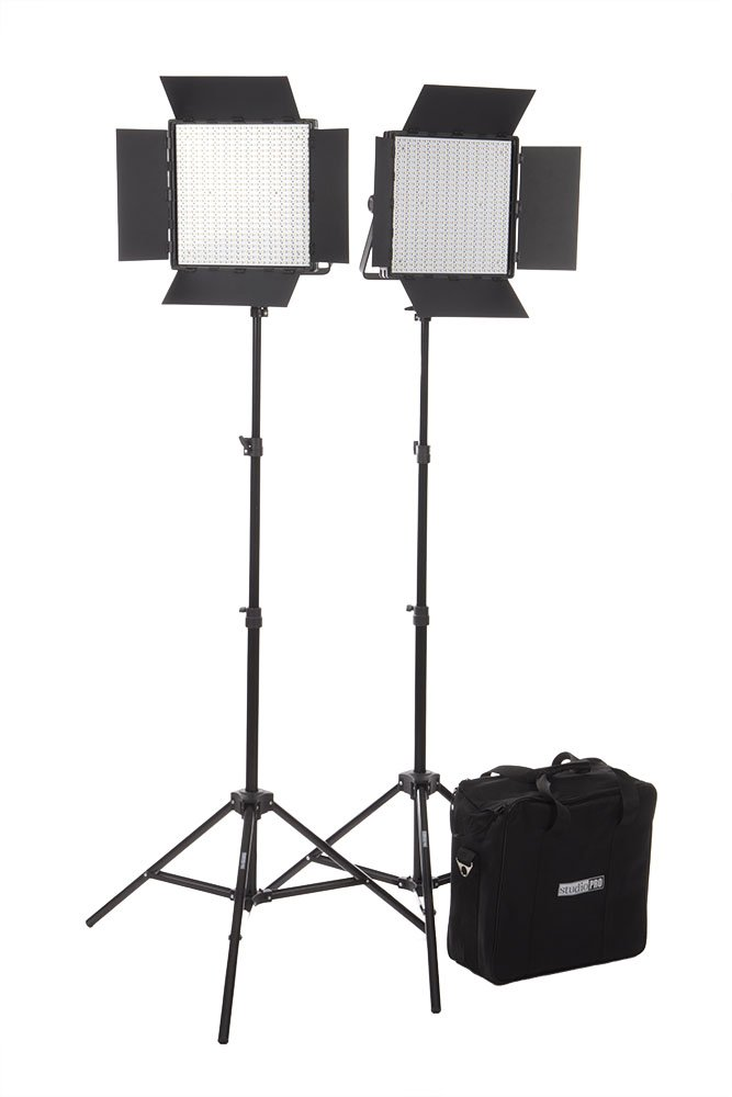 Fovitec  StudioPRO - 2x Bi Color 600 LED Panel Bundle w/ Barndoors, Stands, & Carrying Case - [Continuous][Adjustable Lighting][V-Lock Compatible] by Fovitec