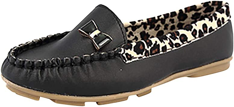 Womens Leopard Bow Print Loafer Shoes