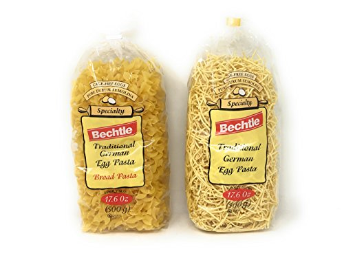 Bechtle Traditional German Cage Free Egg Pasta Variety Bundle Of Two 17.6 Ounce Bags: Broad and Klusky - Bechtle German Egg Noodles