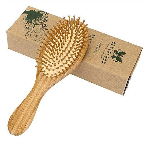 Neverland Beauty 1pc Natural Bamboo Wooden Massage Hair Brush Comb for All Hair Types Improve Hair Growth