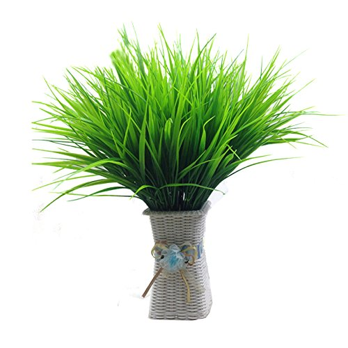 LBZEZR 7 Fork Artificial Fake Plastic Green Grass Plant Flowers Office Decor