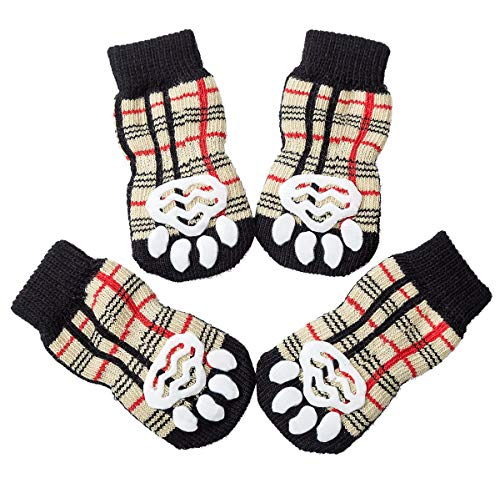 Akopawon 4 Pcs Anti-Slip Pet Dog Cat Socks/Paw Protector/Traction Control for Indoor Wear, Knitted Pet Dog Cat Socks Rubber Reinforcement