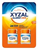 Xyzal Allergy 24HR 2 Bottles Of 55 Tablets Each (110 Tablets Total)