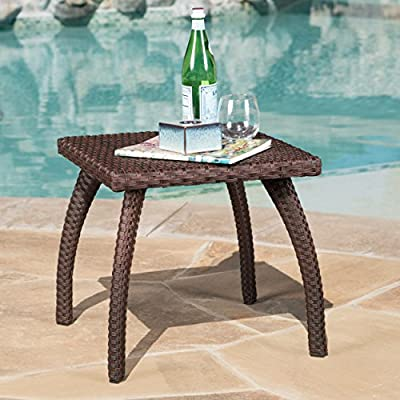 Woodridge Outdoor Brown Wicker Accent Table - Add some holding space to your outdoor patio with the Christopher Knight Home honolulu Table Manufactured in China Assembly required but completely worth it - patio-tables, patio-furniture, patio - 51JaZEOXp9L. SS400  -