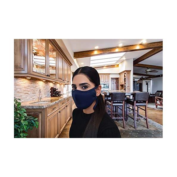 KUNSTIFY-5-Stck-Umhngemaske-Stoffmaske-mit-verstellbaren-Ohrschlaufen-Neckstrap-Mundschutz-Maske-aus-Baumwolle-Stoff-fr-Herren-und-Damen-Dunkelblau