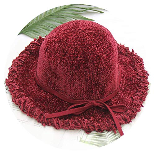 - ExpertS Hats Solid Bow Bucket Hat Tassel Wide Brim Fisherman Caps Knitted Warm Winter,OneSize,4