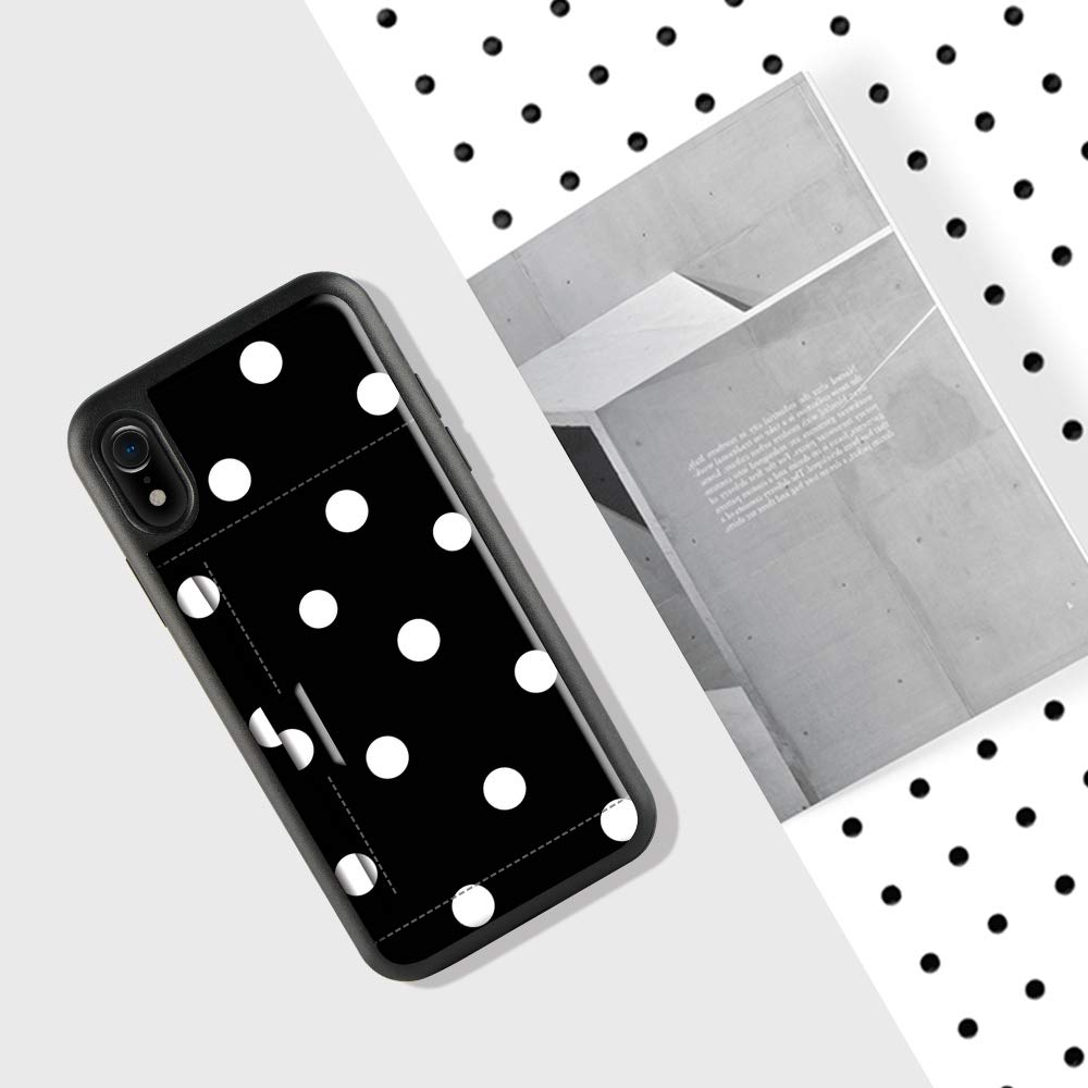 iPhone XR Case with Credit Card Holder, ZVE iPhone XR Wallet Case with Card Holder Slot Slim Leather Pocket Protective Case Cover for Apple iPhone XR, 6.1 inch (Aries Series)- Polka Dots by ZVE