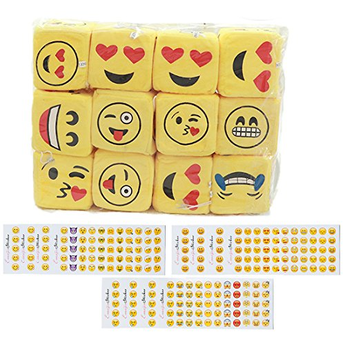 12 Pcs Soft Smile Face Emoji Dice Table Games Mini Plush Pillows Keychain Decorations emoticon pillow,12 Sheets Emoji Stickers for Funny Kids Birthday Party Supplies Favors Home Decoration Wall Decor by oemby001
