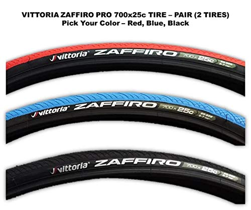Vittoria Zaffiro IV Wire Bead Road Bike Tire 700x25mm - PAIR (2 TIRES) Pick your Color (Black)