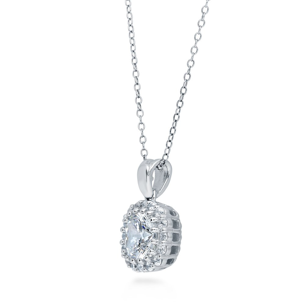 BERRICLE Rhodium Plated Sterling Silver Cushion Cut Cubic Zirconia CZ Halo Anniversary Wedding Pendant Necklace