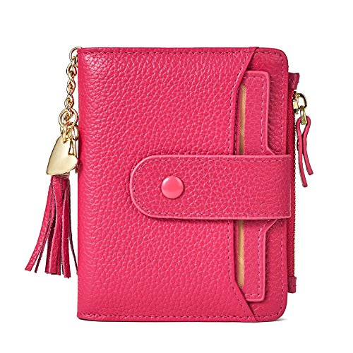 Women's Mini Soft Leather Wallet with ID Window Card Sleeve Bifold Wallet Coin Purse (Rose red) ()