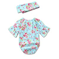 Cute Inflant Baby Girls Floral Ruffle Romper Jumpsuit with Headband Outfit Cl...