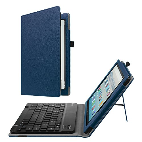 Fintie Keyboard Case for All-New Amazon Fire HD 10 (7th Generation, 2017 Release) - Folio PU Leather Stand Cover with Removable Wireless Bluetooth Keyboard for Fire HD 10.1 Tablet, Navy