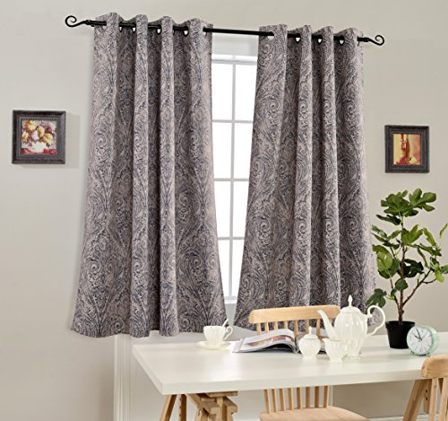 Mysky Home Fashion Koru Design Print Thermal Insulated Blackout Curtain with Grommet Top for Living Room, 52 by 63 inch, Blue - 1 Panel - Sliding Door China