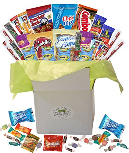 Snack Gift Basket Care Package with Sweet and Salty Snacks 26 Count Plus Bonus Candy | For College Students, Thank You Gifts, Military Appreciation, Birthday Gift Ideas, or Thinking of You (Unique Gift Baskets Delivery)