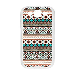 Aztec Colorful Pattern Bohemian Style Personality Design Custom For Case Samsung Galaxy S3 I9300 Cover (White) with Best Silicon Hard