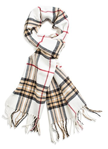 White Plaid Scarf (Veronz Soft Classic Cashmere Feel Winter Scarf, Ivory Plaid)