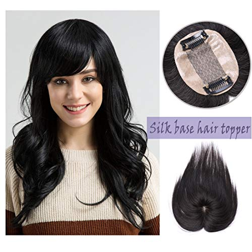 Silk Base Real Human Hair Topper for Women Top Hairpiece Clips in Crown Hand Made Toupee Replacement Extentions for Hair Loss Thinning Hair Cover Gray Hair #01 Jet Black 12